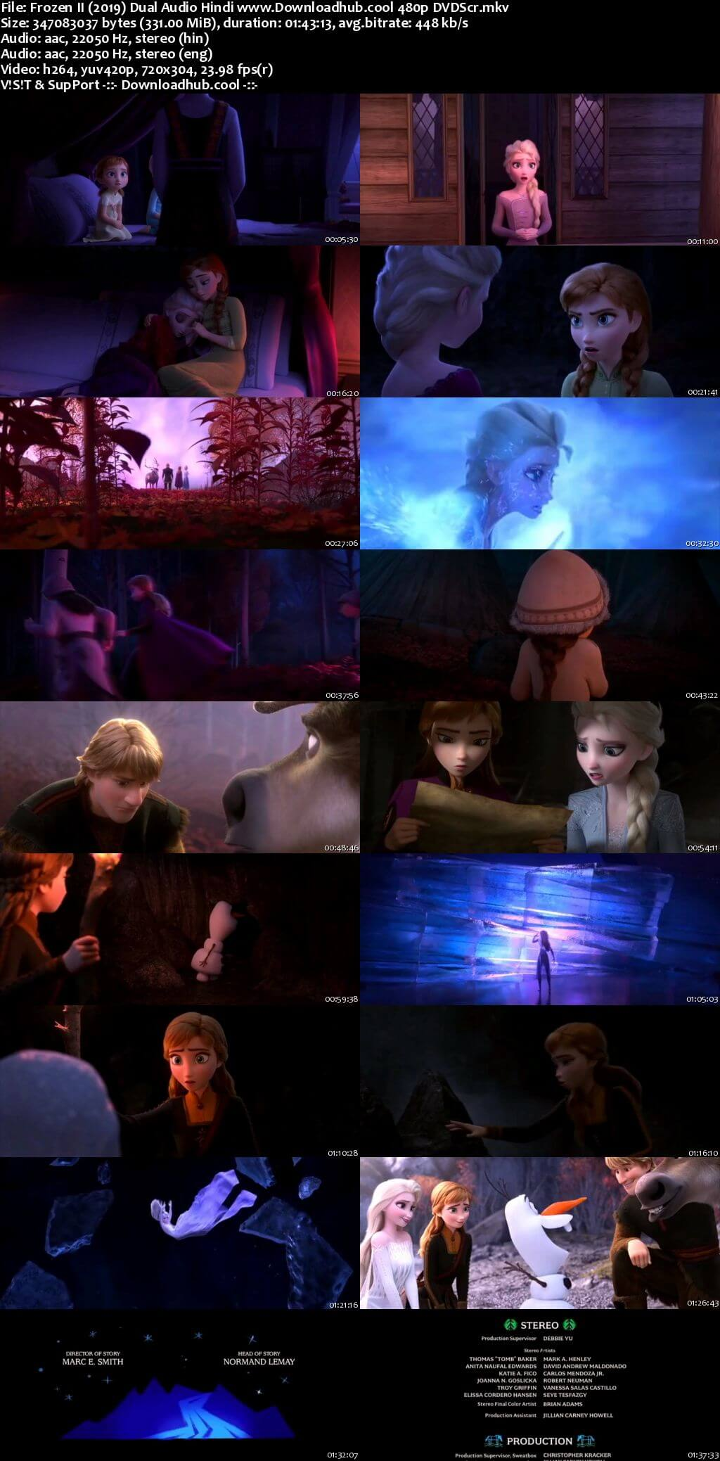 Frozen II 2019 Hindi Dual Audio 300MB DVDScr 480p