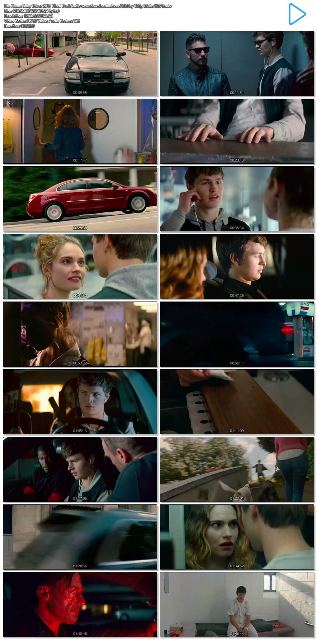 Baby Driver 2017 Hindi Dual Audio 600MB BluRay 720p ESubs HEVC