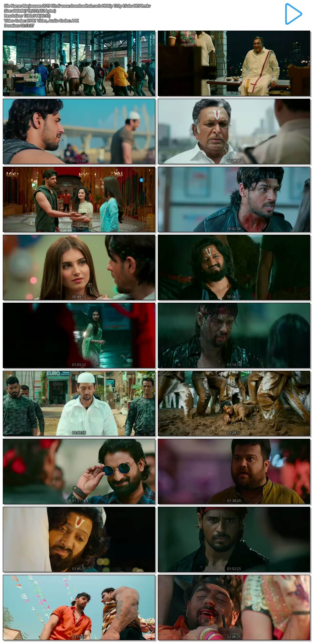 Marjaavaan 2019 Hindi 650MB HDRip 720p ESubs HEVC