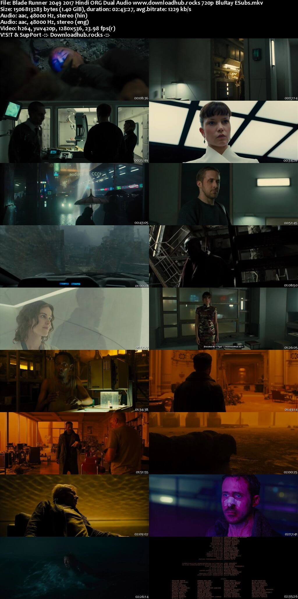 Blade Runner 2049 2017 Hindi ORG Dual Audio 720p BluRay ESubs