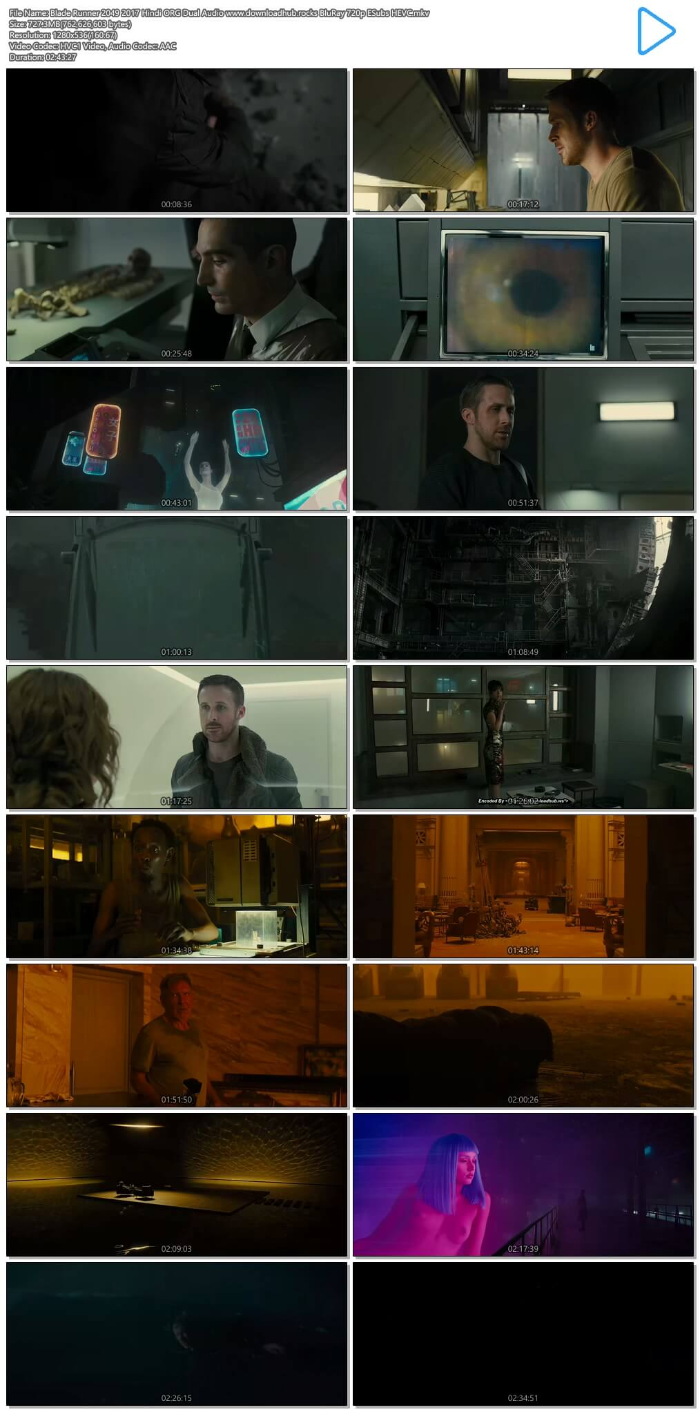 Blade Runner 2049 2017 Hindi ORG Dual Audio 700MB BluRay 720p ESubs HEVC