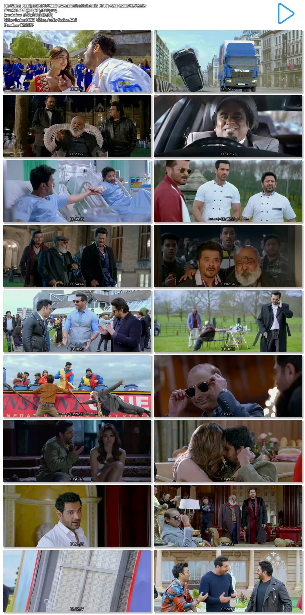 Pagalpanti 2019 Hindi 750MB HDRip 720p ESubs HEVC