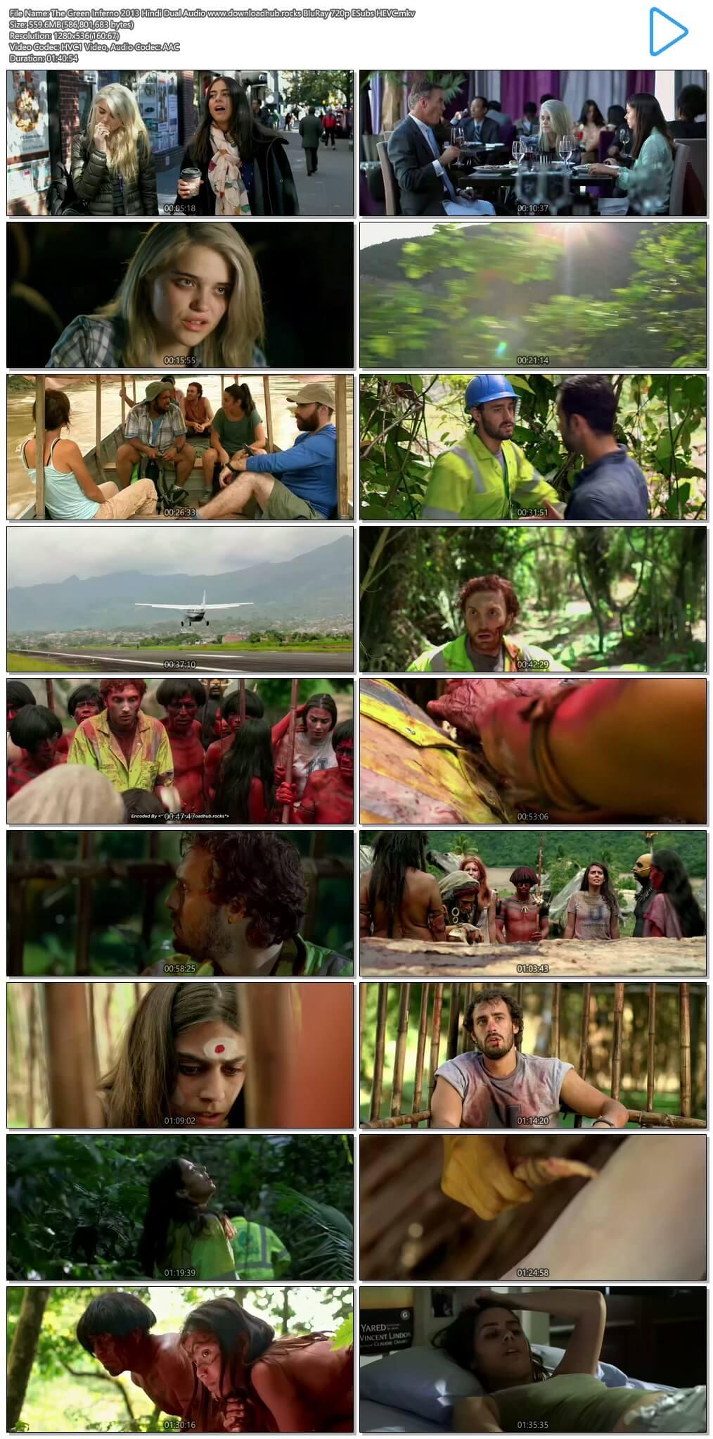 The Green Inferno 2013 Hindi Dual Audio 550MB BluRay 720p ESubs HEVC