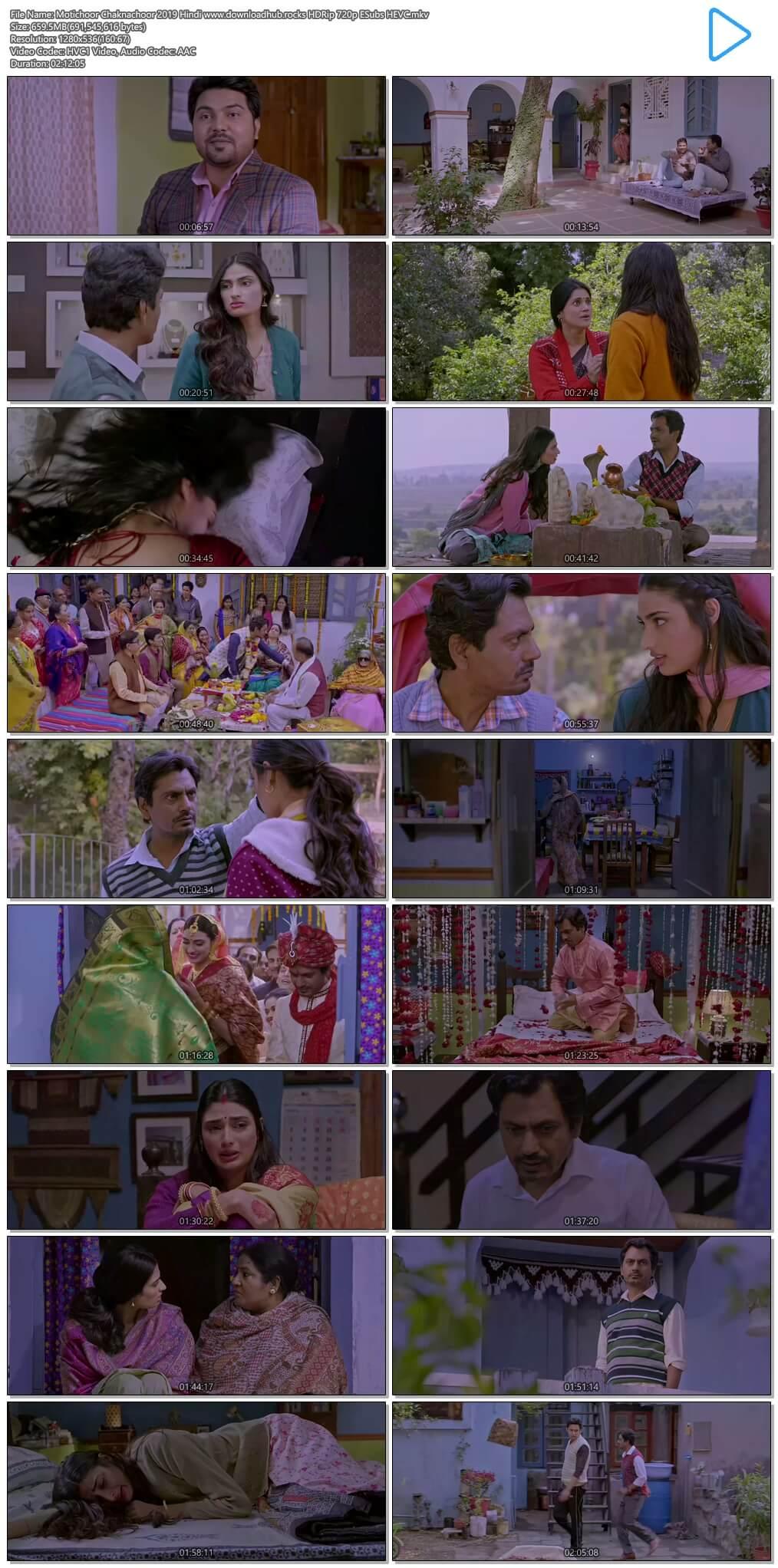 Motichoor Chaknachoor 2019 Hindi 650MB HDRip 720p ESubs HEVC