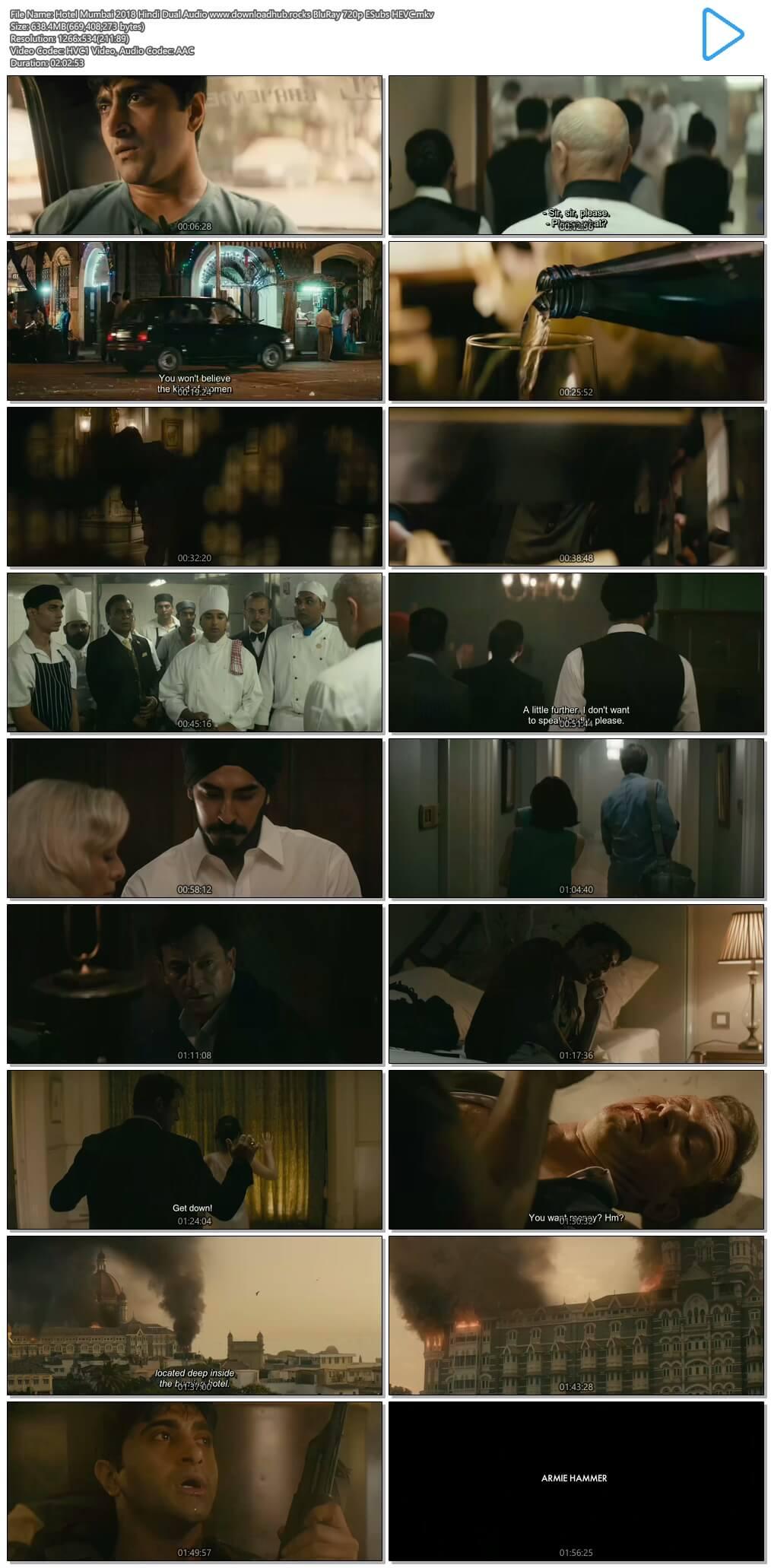 Hotel Mumbai 2018 Hindi Dual Audio 600MB BluRay 720p ESubs HEVC