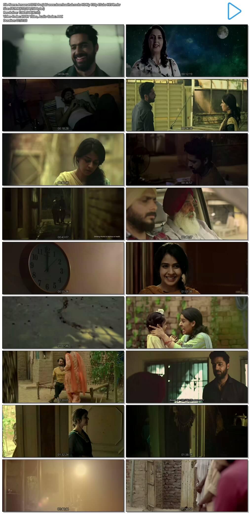 Amaanat 2019 Punjabi 550MB HDRip 720p ESubs HEVC