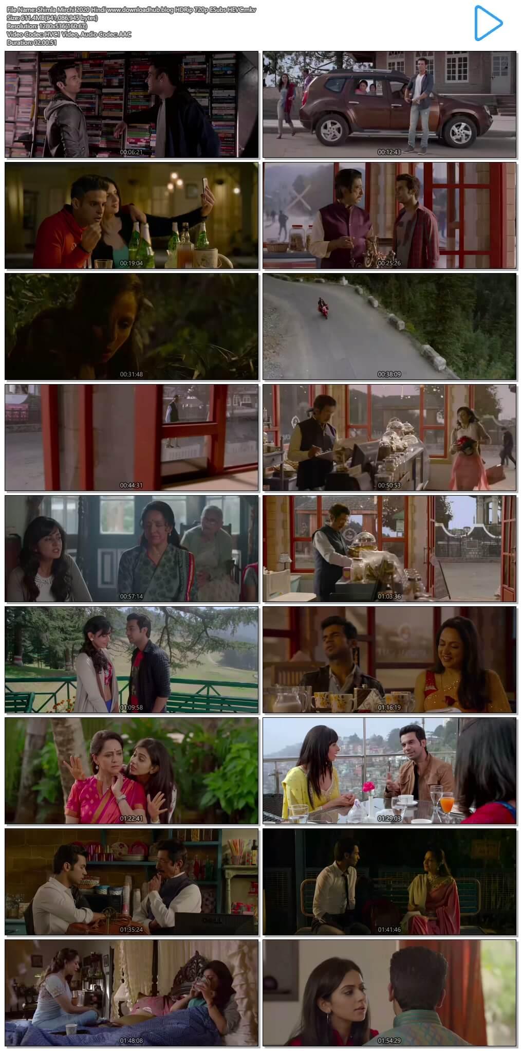 Shimla Mirchi 2020 Hindi 600MB HDRip 720p ESubs HEVC