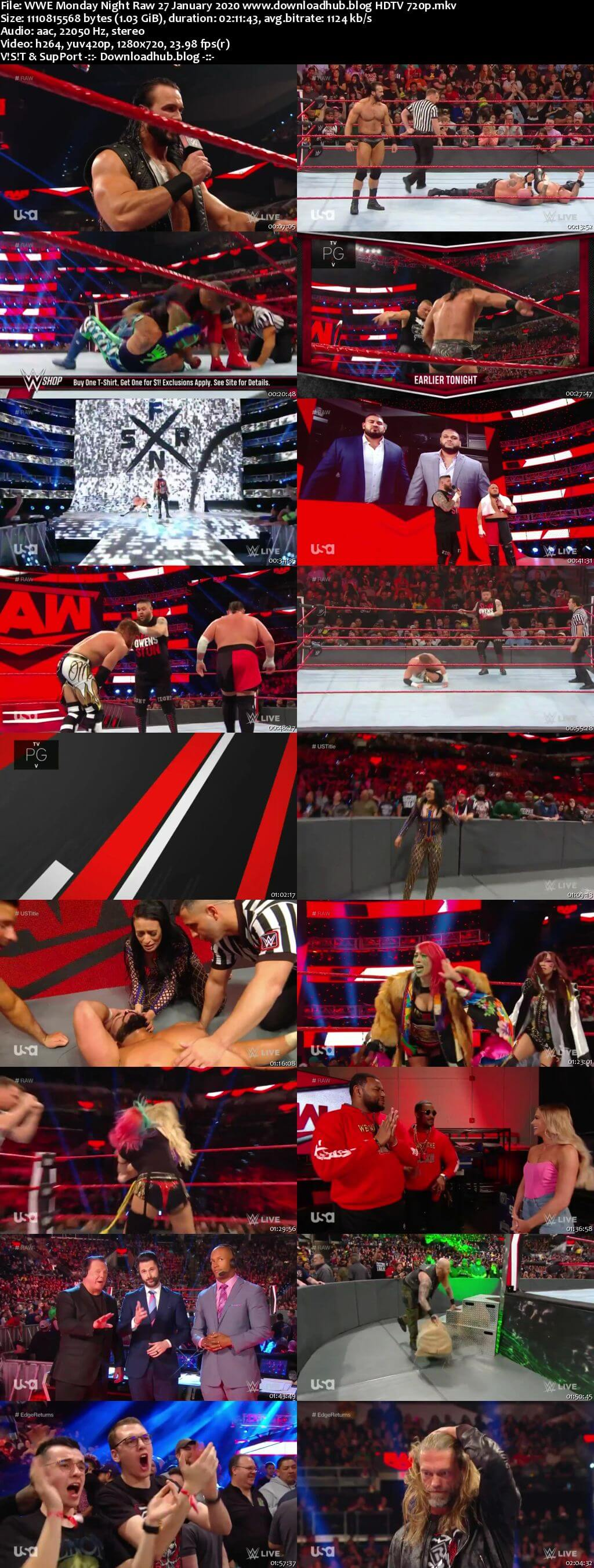 WWE Monday Night Raw 27th January 2020 720p 500MB HDTVRip 480p