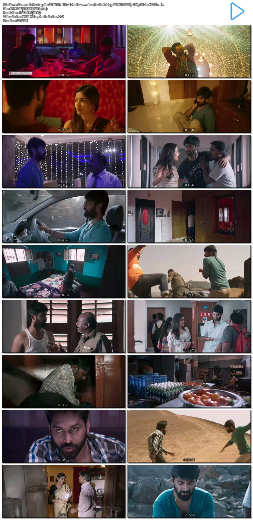 Semma Botha Aagatha 2018 Hindi Dual Audio 650MB UNCUT HDRip 720p ESubs HEVC