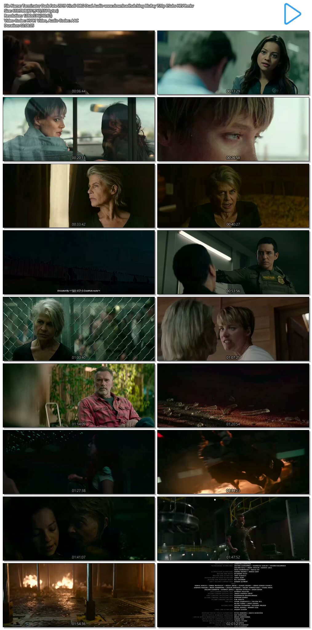 Terminator Dark Fate 2019 Hindi ORG Dual Audio 650MB BluRay 720p ESubs HEVC