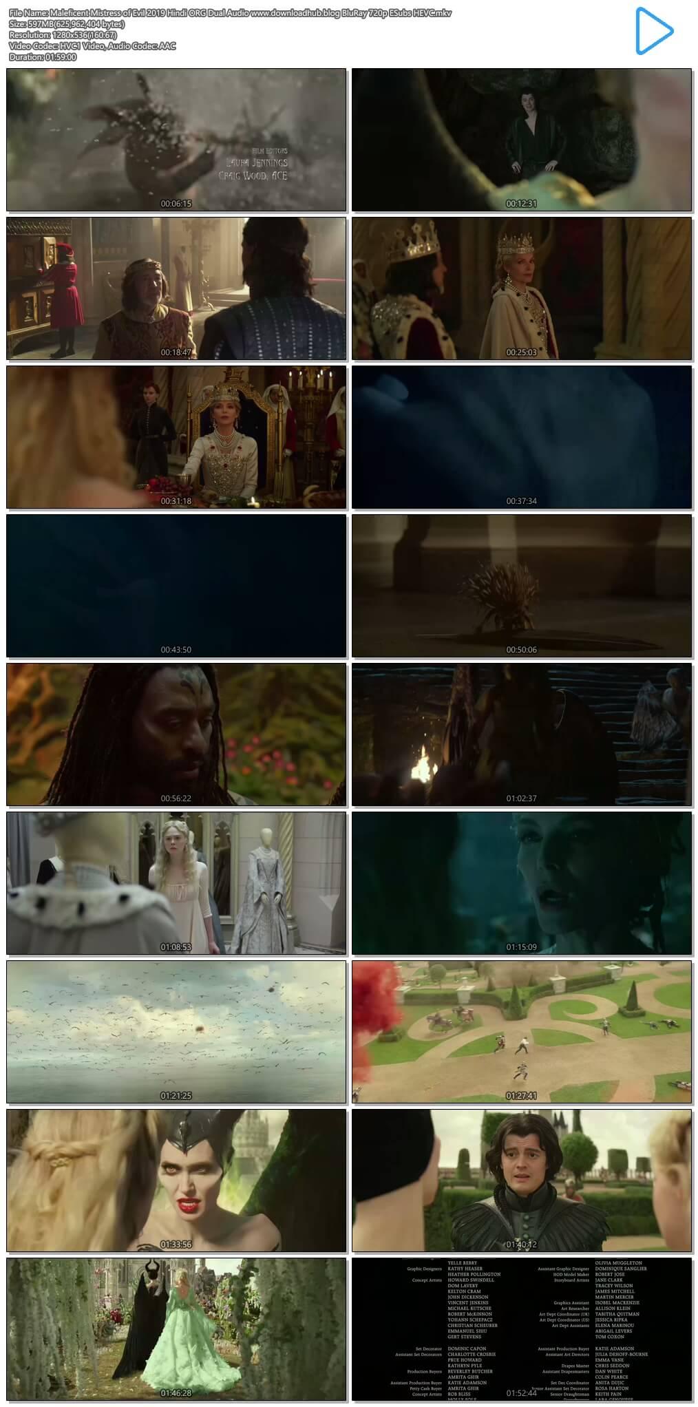 Maleficent Mistress of Evil 2019 Hindi ORG Dual Audio 600MB BluRay 720p ESubs HEVC