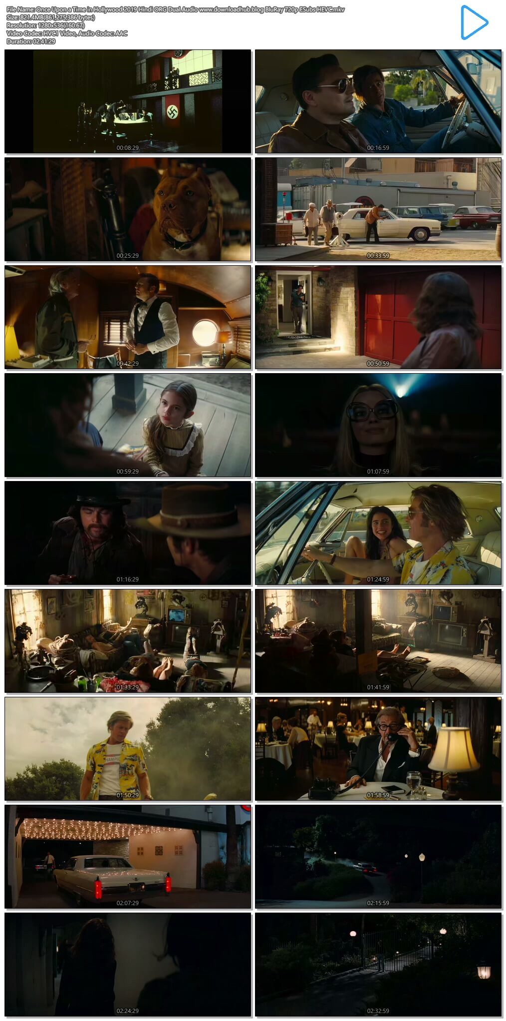 Once Upon a Time in Hollywood 2019 Hindi ORG Dual Audio 800MB BluRay 720p ESubs HEVC