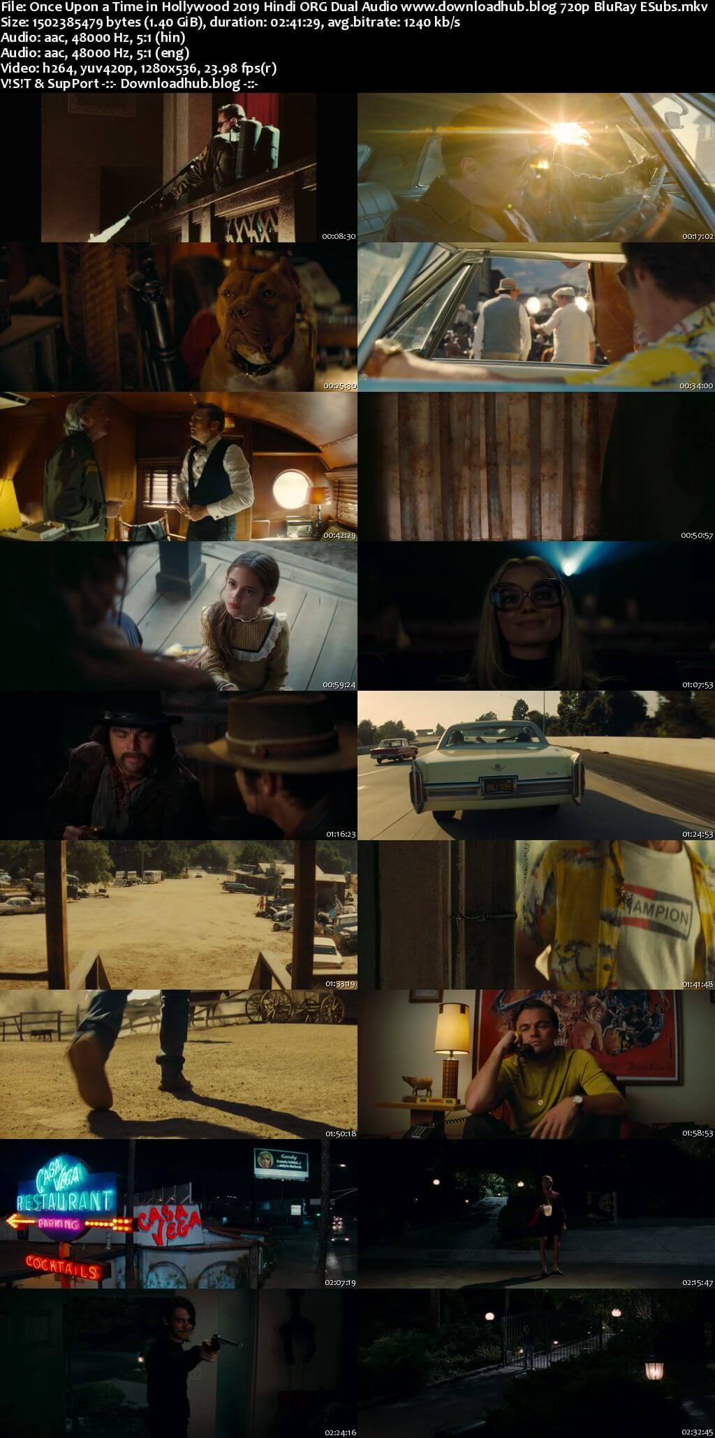Once Upon a Time in Hollywood 2019 Hindi ORG Dual Audio 720p BluRay ESubs
