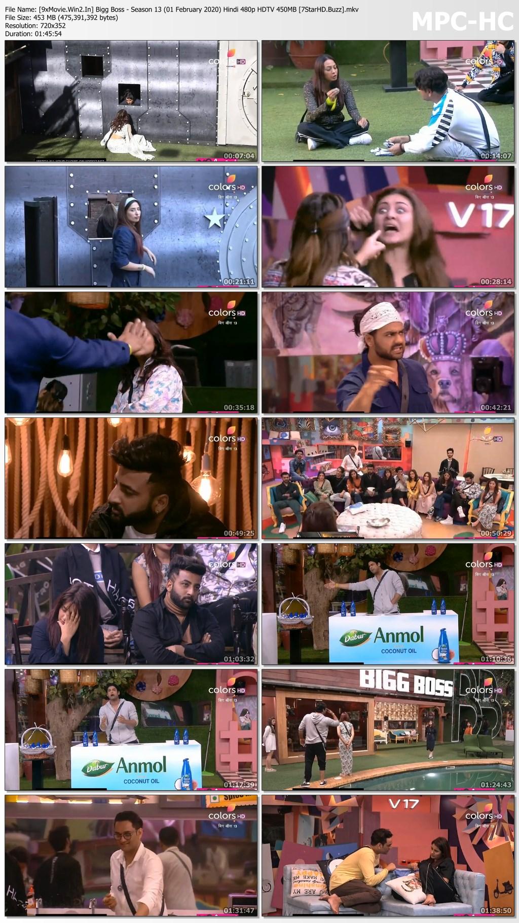 Bigg Boss - Season 13 (01 February 2020) Hindi 480p HDTV x264 450MB