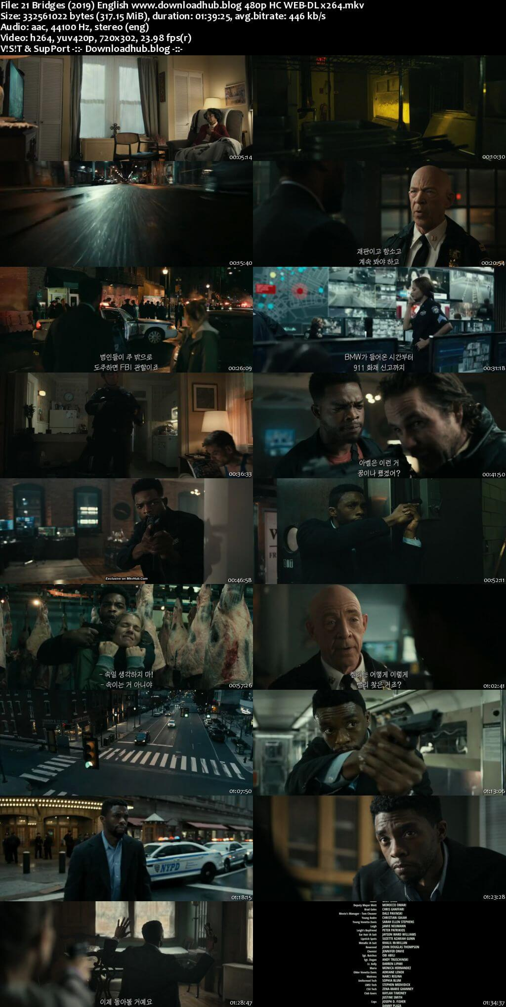 21 Bridges 2019 English 300MB HC HDRip 480p