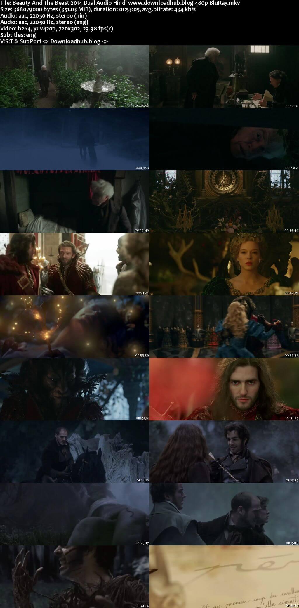 Beauty and the Beast 2014 Hindi Dual Audio 350MB BluRay 480p ESubs