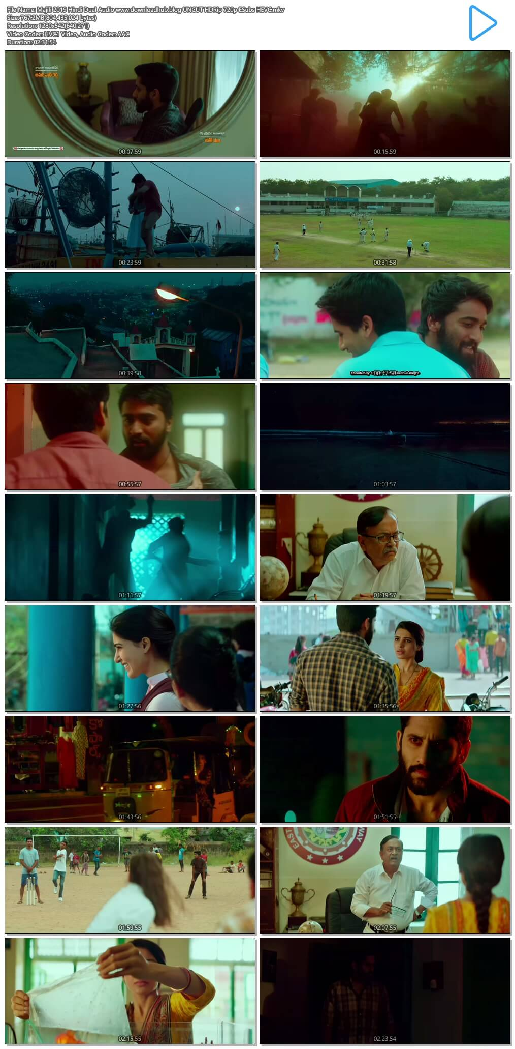 Majili 2019 Hindi Dual Audio 750MB UNCUT HDRip 720p ESubs HEVC