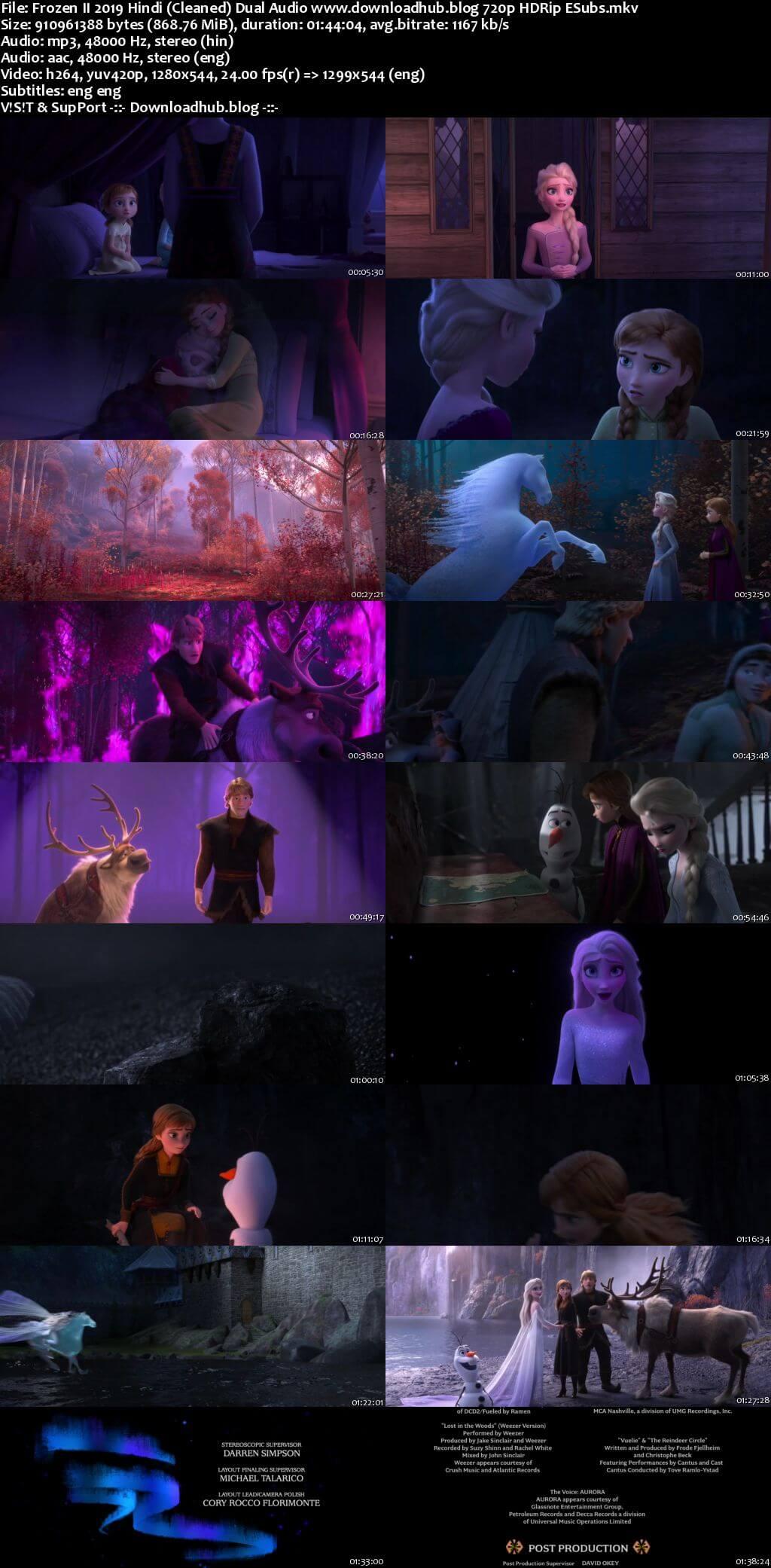 Frozen II 2019 Hindi (Cleaned) Dual Audio 720p HDRip ESubs