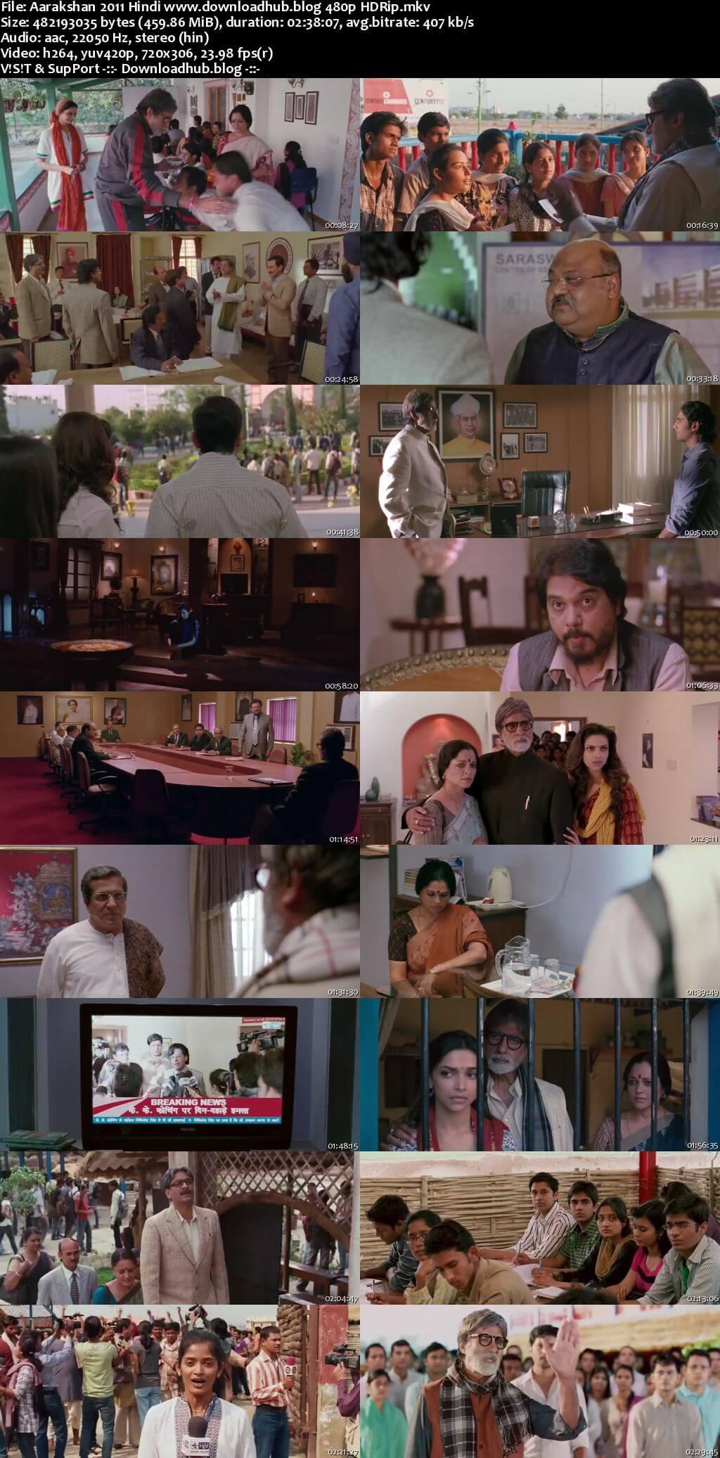 Aarakshan 2011 Hindi 450MB HDRip 480p ESubs