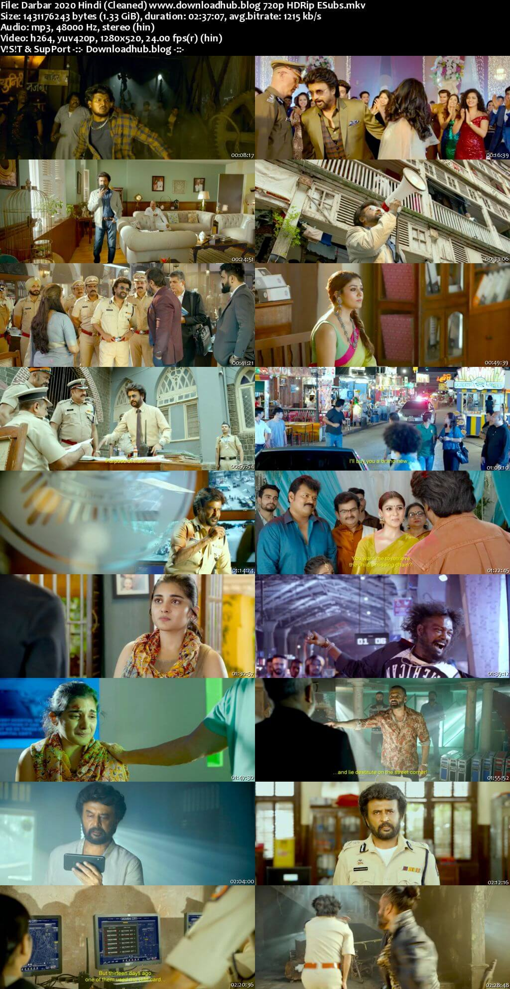 Darbar 2020 Hindi (Cleaned) 720p HDRip HC ESubs