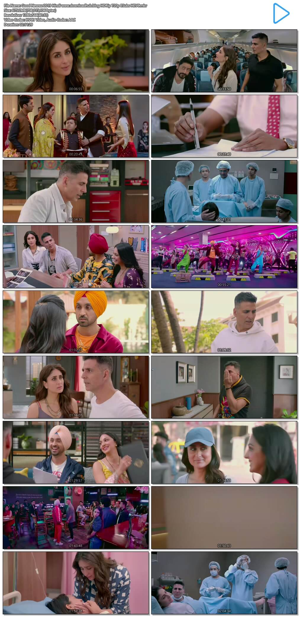 Good Newwz 2019 Hindi 650MB HDRip 720p ESubs HEVC