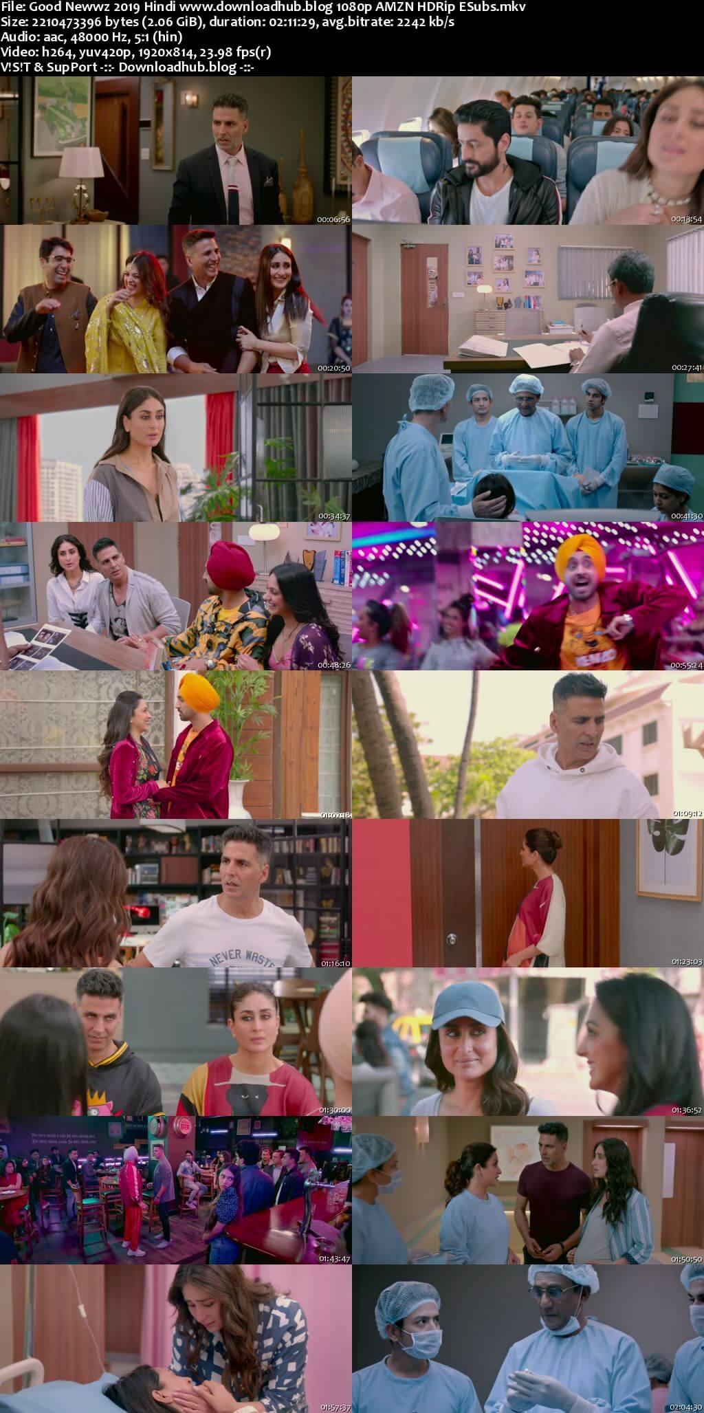 Good Newwz 2019 Hindi 1080p AMZN HDRip ESubs