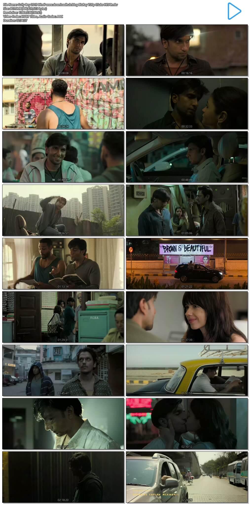 Gully Boy 2019 Hindi 800MB BluRay 720p ESubs HEVC