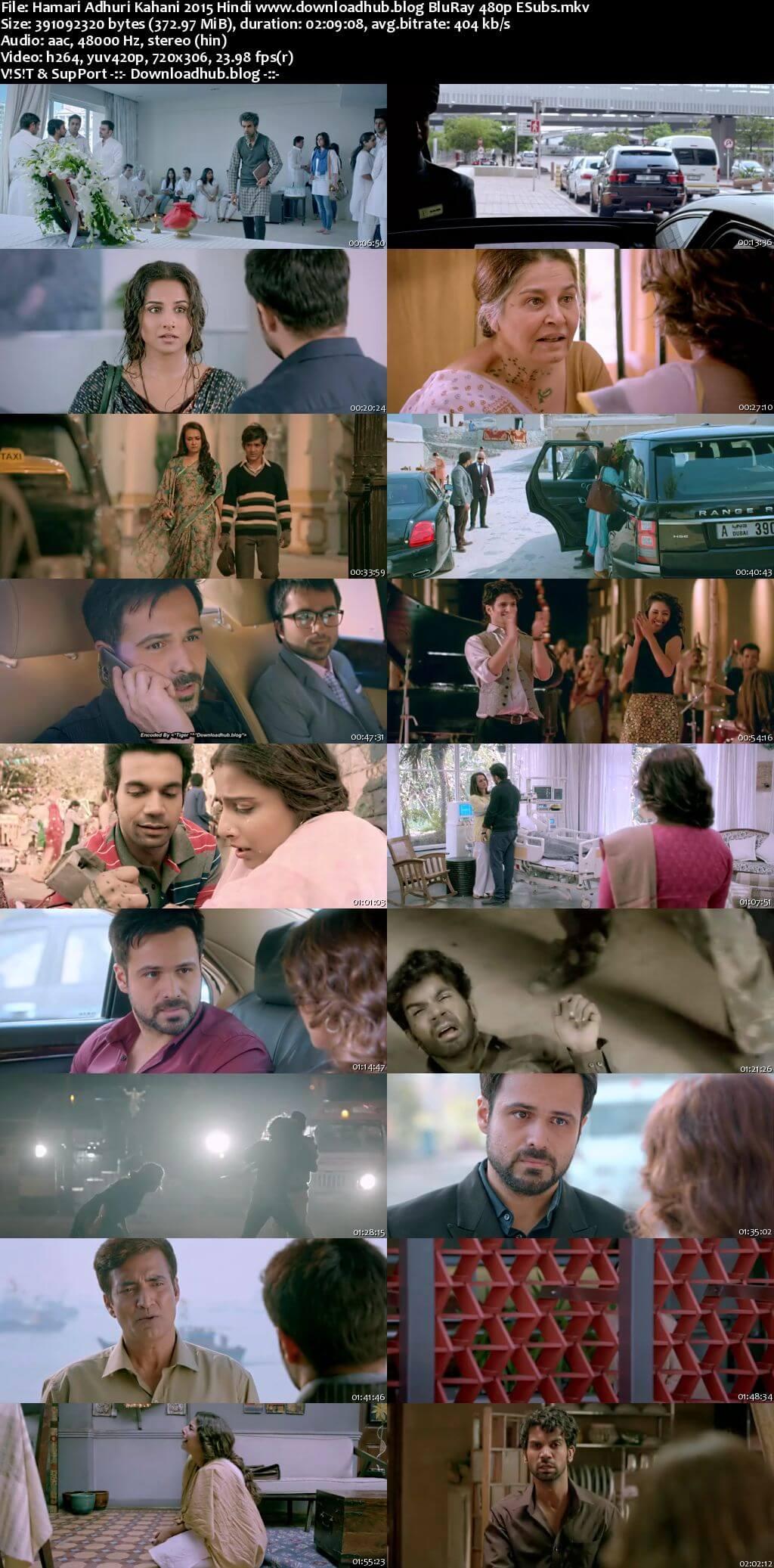 Hamari Adhuri Kahani 2015 Hindi 350MB BluRay 480p ESubs