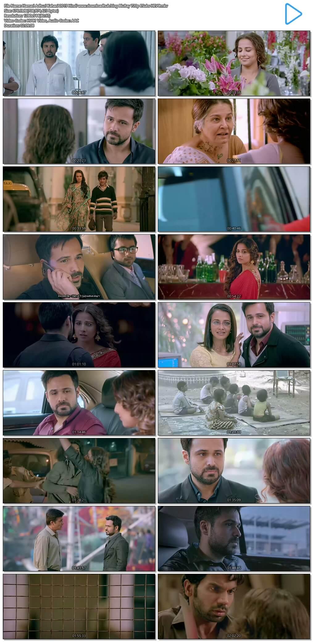 Hamari Adhuri Kahani 2015 Hindi 650MB BluRay 720p ESubs HEVC