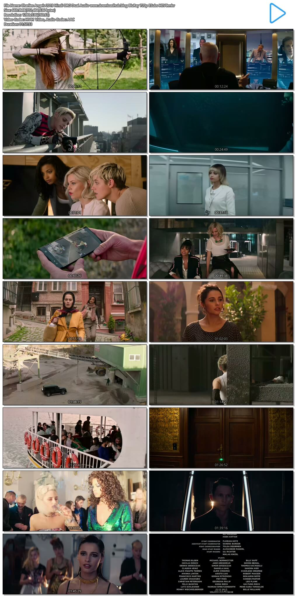 Charlies Angels 2019 Hindi ORG Dual Audio 650MB BluRay 720p ESubs HEVC