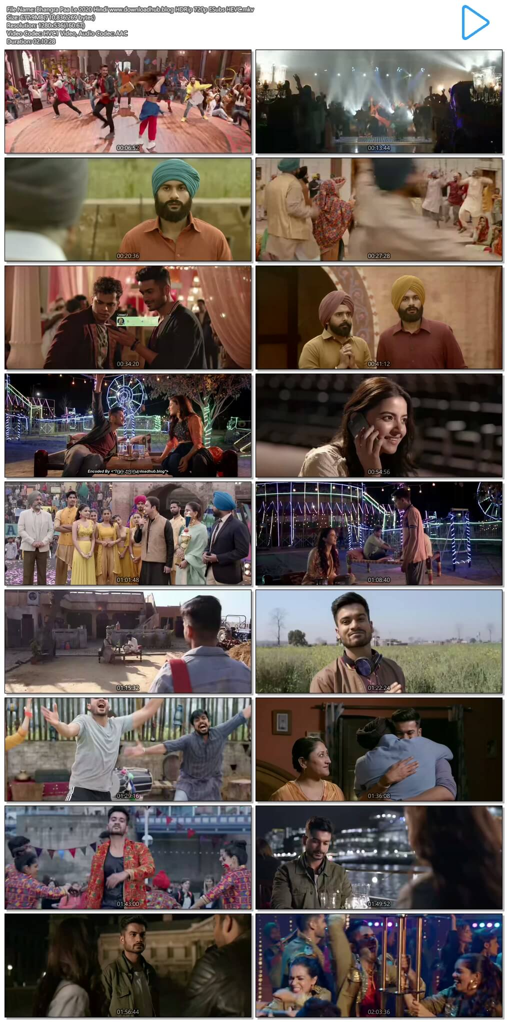 Bhangra Paa Le 2020 Hindi 650MB HDRip 720p ESubs HEVC