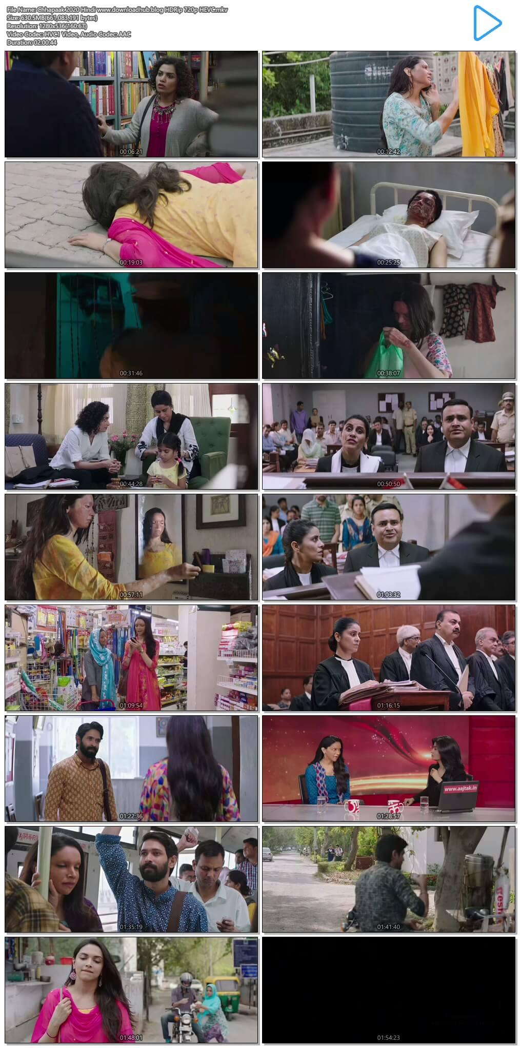 Chhapaak 2020 Hindi 600MB HDRip 720p HEVC