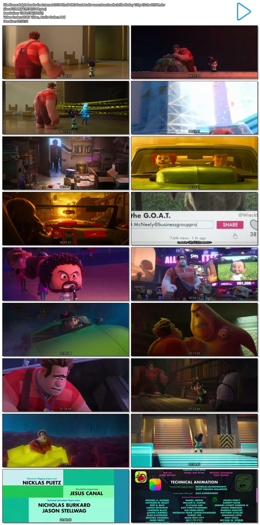 Ralph Breaks the Internet 2018 Hindi ORG Dual Audio 600MB BluRay 720p ESubs HEVC