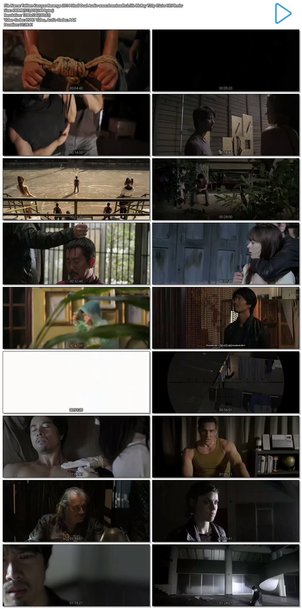 Tekken Kazuyas Revenge 2014 Hindi Dual Audio 500MB BluRay 720p ESubs HEVC