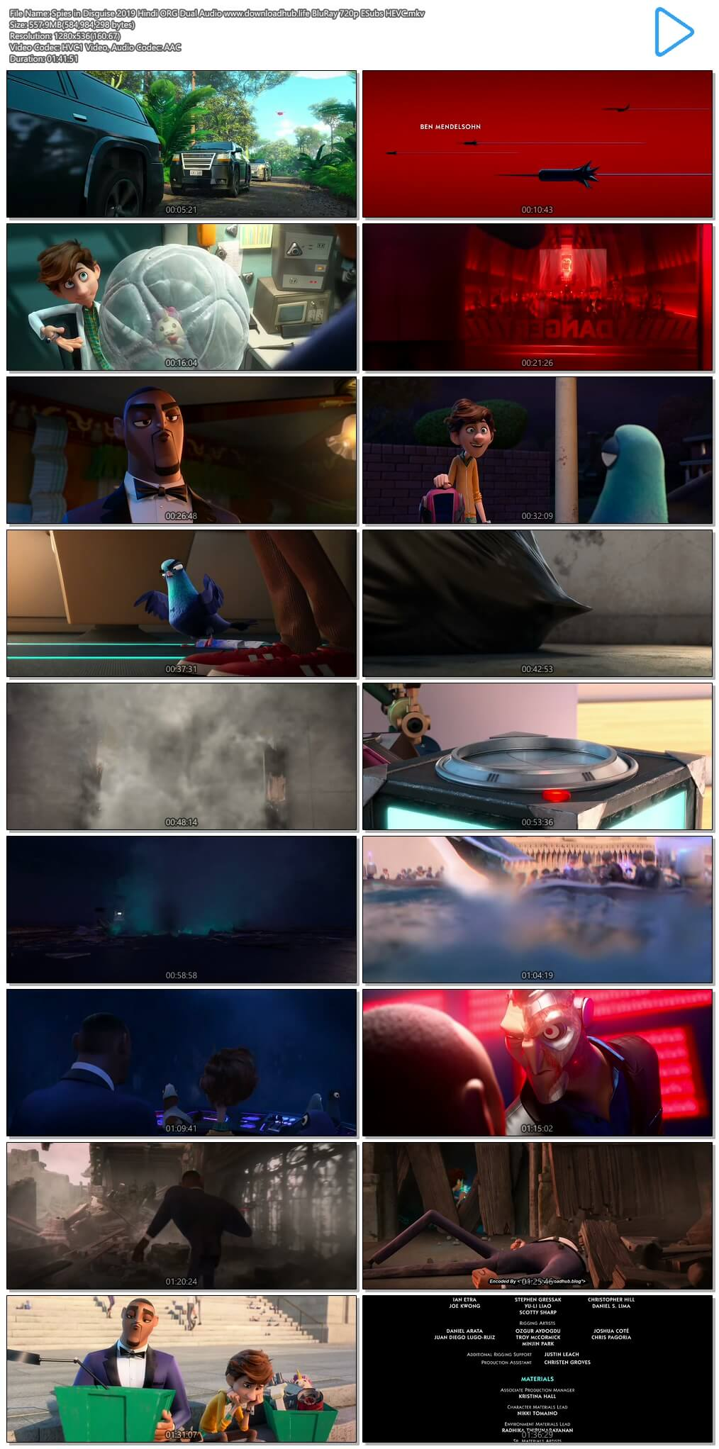 Spies in Disguise 2019 Hindi ORG Dual Audio 550MB BluRay 720p ESubs HEVC