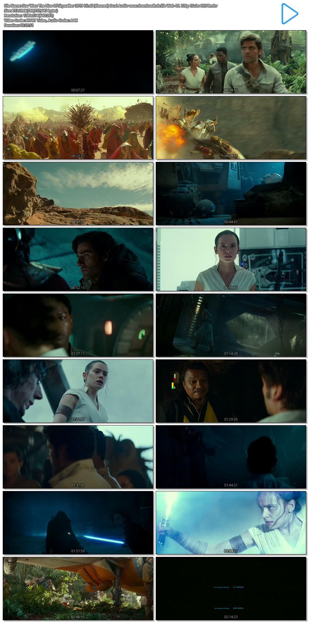 Star Wars The Rise Of Skywalker 2019 Hindi (Cleaned) Dual Audio 750MB Web-DL 720p ESubs HEVC