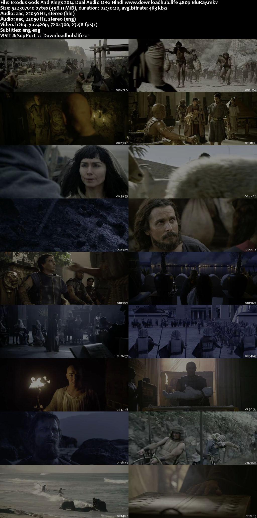 Exodus Gods and Kings 2014 Hindi Dual Audio 500MB BluRay 480p ESubs