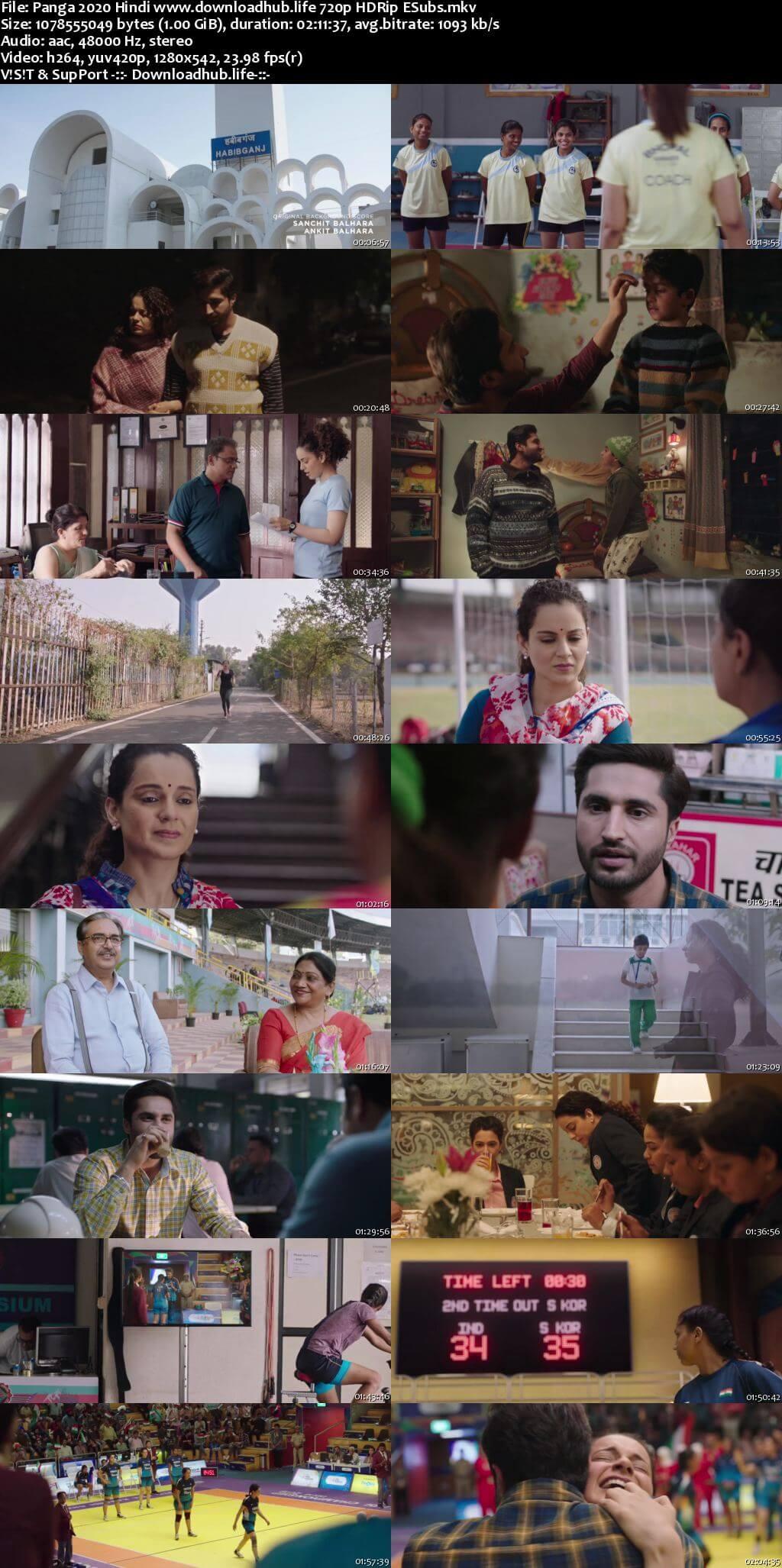 Panga 2020 Hindi 720p HDRip ESubs