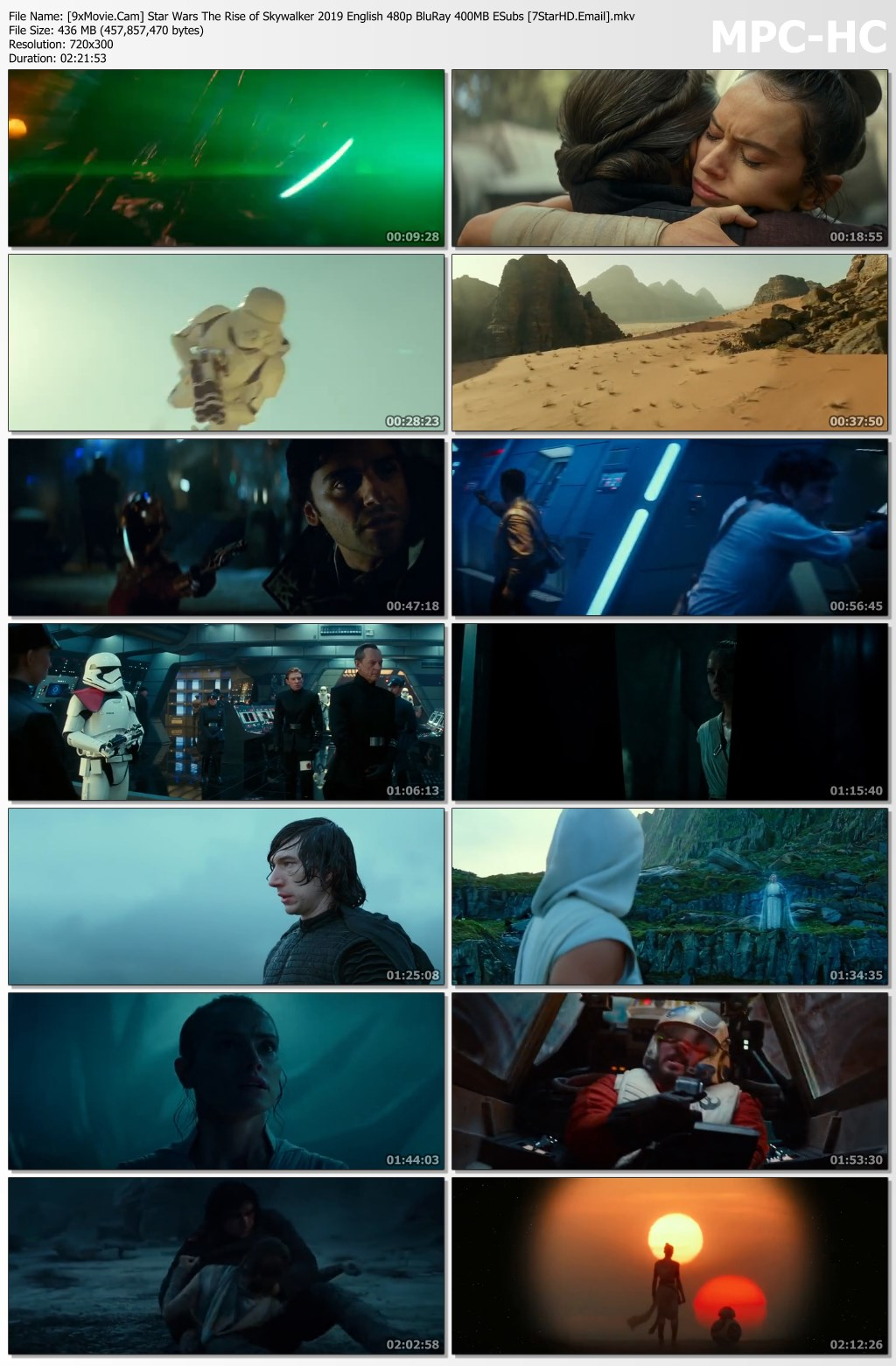 Star Wars The Rise of Skywalker 2019 English 480p BluRay x264 400MB ESubs