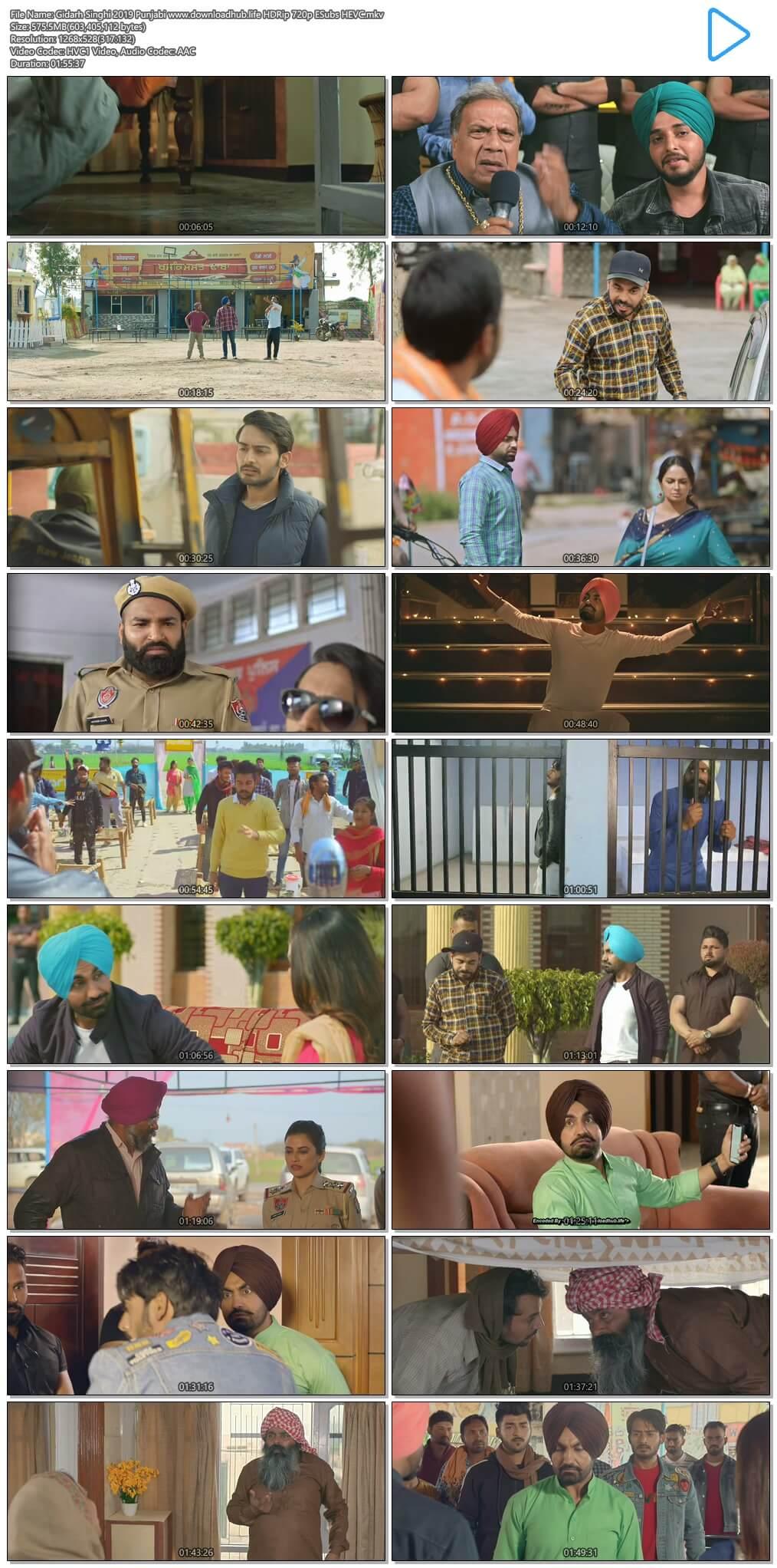 Gidarh Singhi 2019 Punjabi 550MB HDRip 720p ESubs HEVC