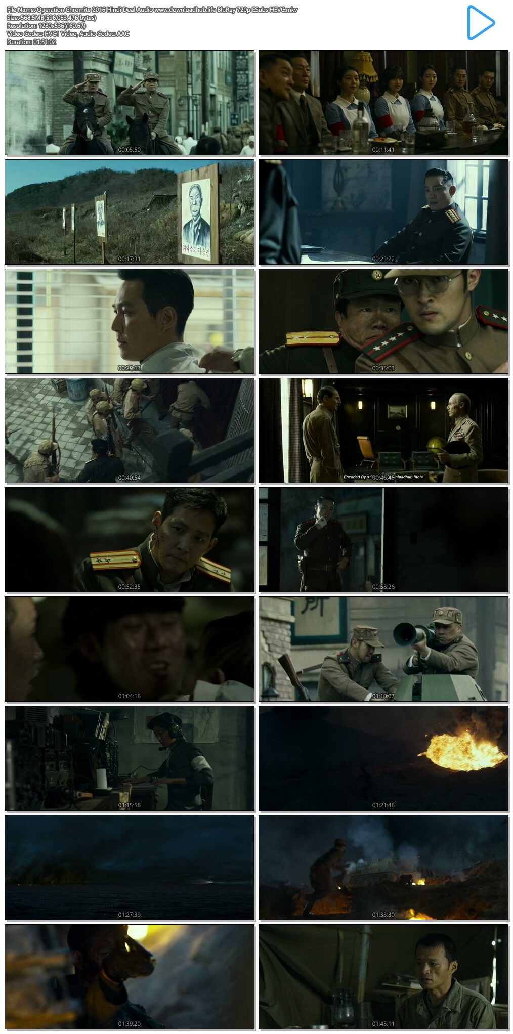 Operation Chromite 2016 Hindi Dual Audio 550MB BluRay 720p ESubs HEVC