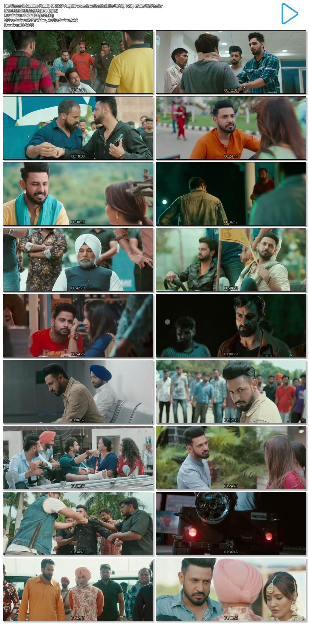 Ik Sandhu Hunda Si 2020 Punjabi 550MB HDRip 720p ESubs HEVC