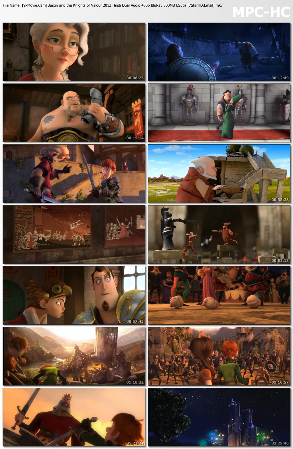 Justin and the Knights of Valour 2013 Hindi Dual Audio 480p BluRay 300MB ESubs
