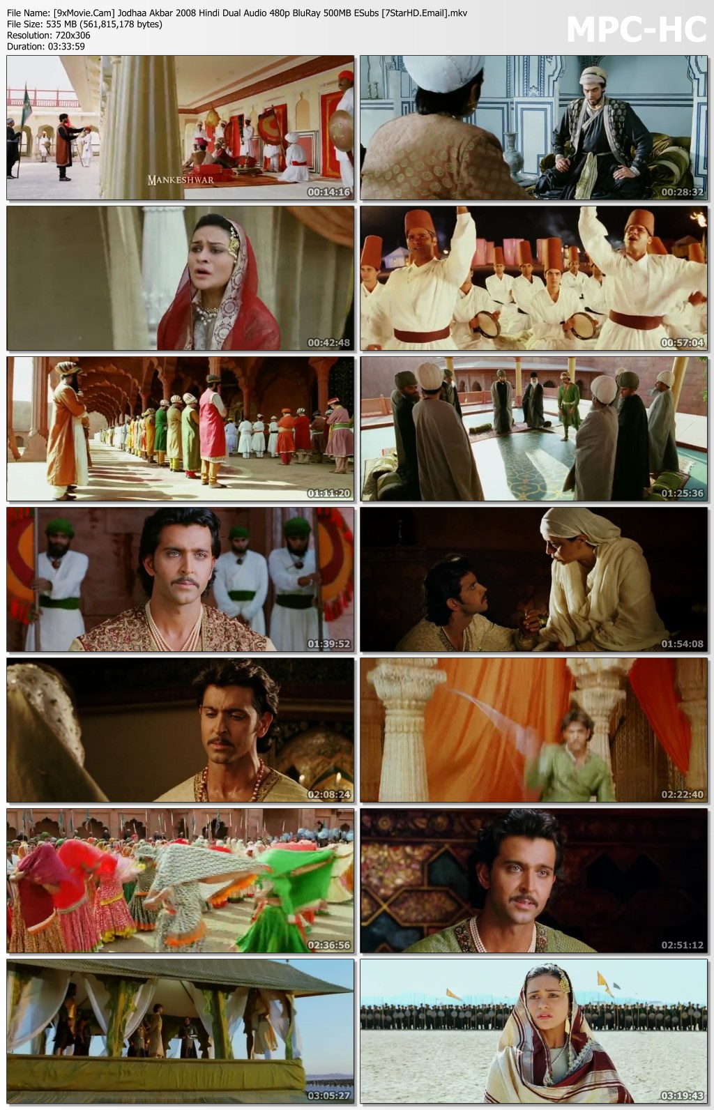 Jodhaa Akbar 2008 Hindi Dual Audio 480p BluRay x264 500MB ESubs