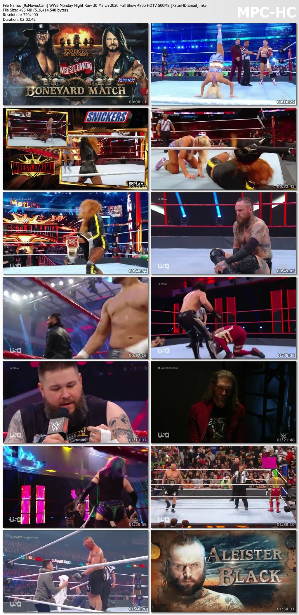 WWE Monday Night Raw 30 March 2020 Full Show 480p HDTV x264 500MB