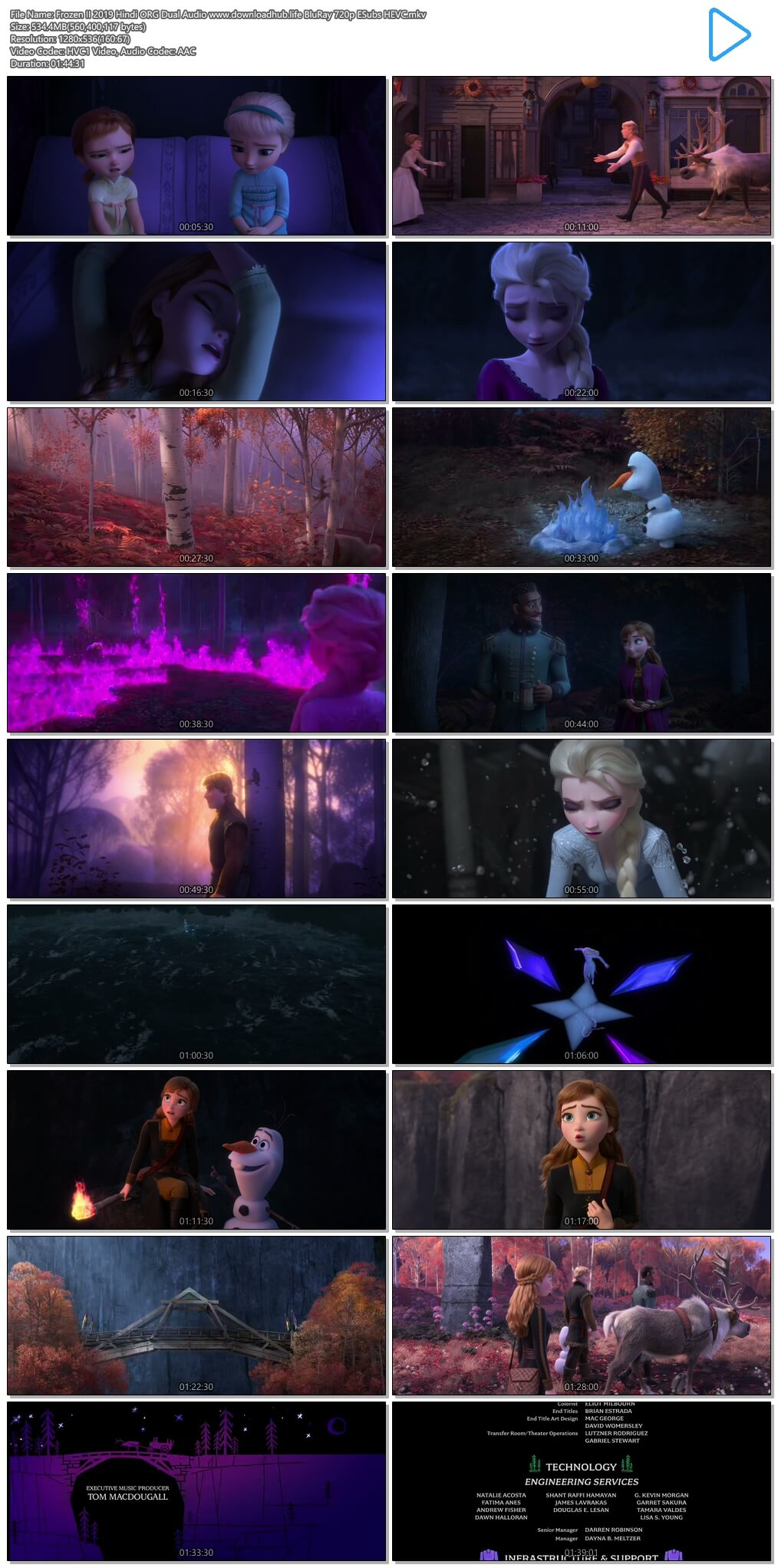 Frozen II 2019 Hindi ORG Dual Audio 500MB BluRay 720p ESubs HEVC