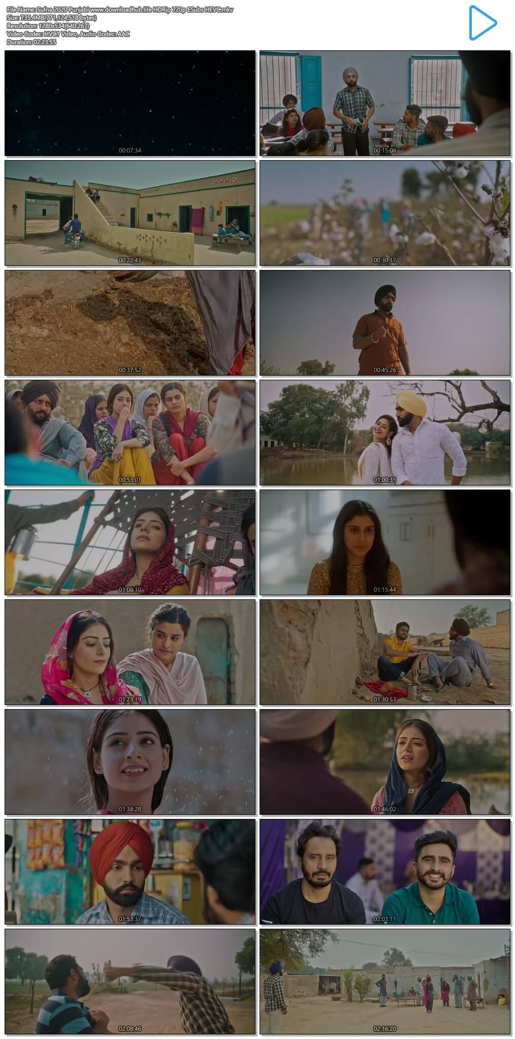 Sufna 2020 Punjabi 700MB HDRip 720p ESubs HEVC