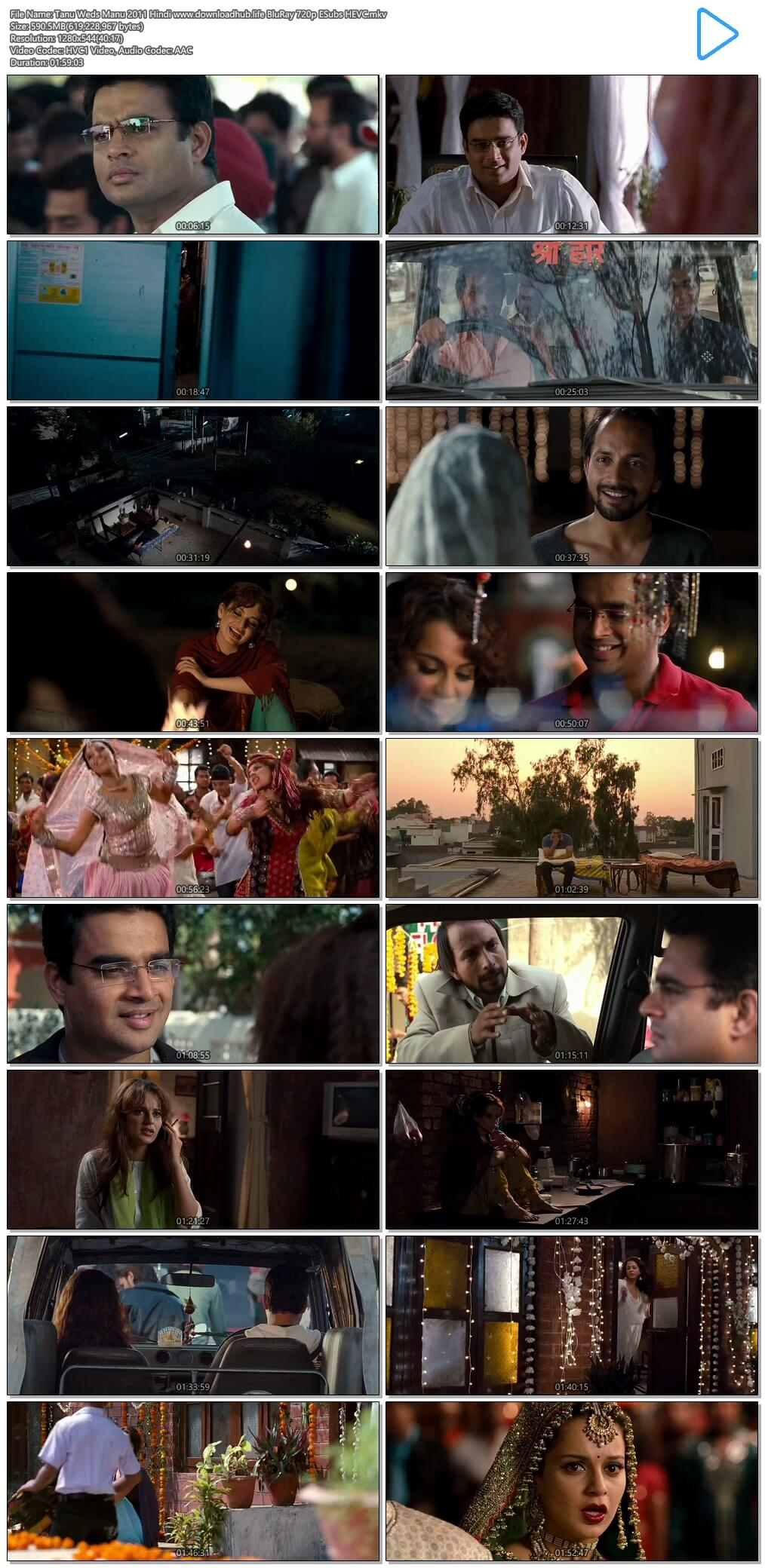 Tanu Weds Manu 2011 Hindi 600MB BluRay 720p ESubs HEVCs