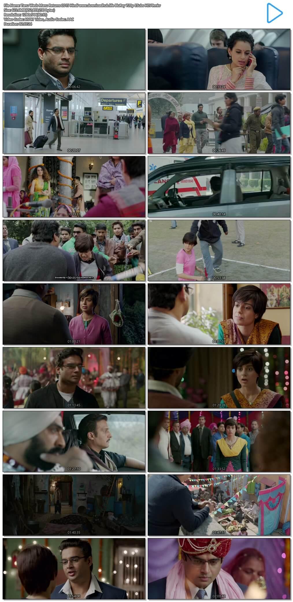 Tanu Weds Manu Returns 2015 Hindi 600MB BluRay 720p ESubs HEVC