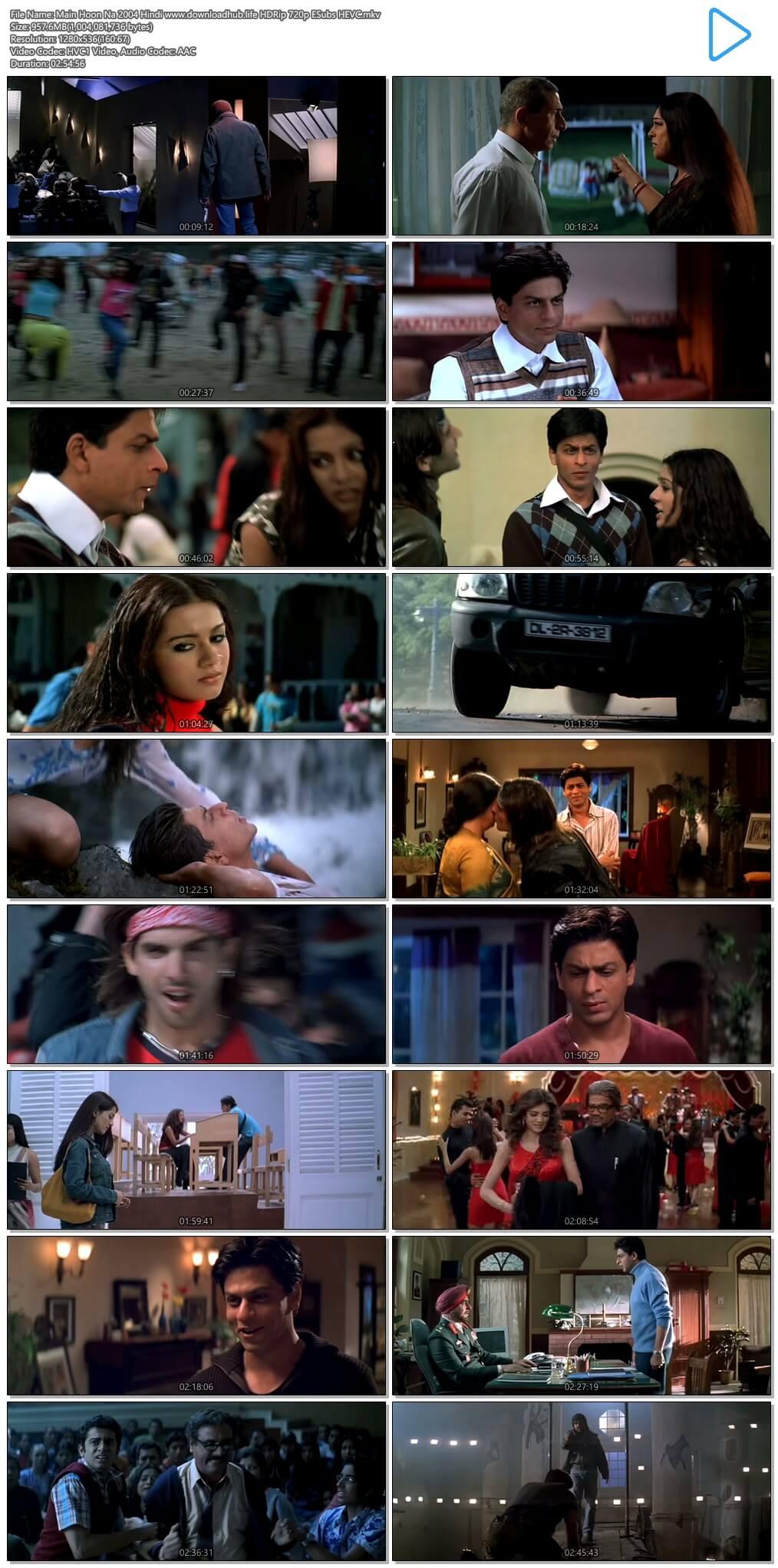 Main Hoon Na 2004 Hindi 950MB HDRip 720p ESubs HEVC